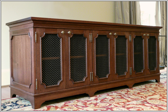 Traditional Solid Mahogany And Brass Media Cabinet.