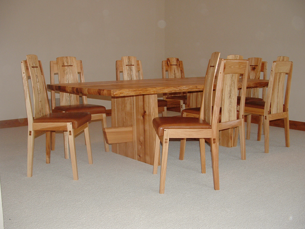 reclaimed hickory dinning table and chairs - finewoodworking