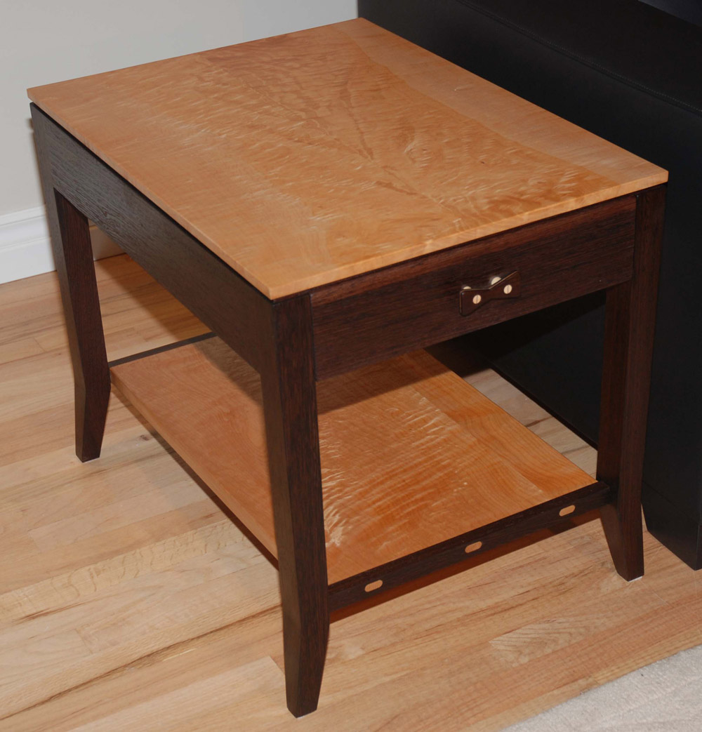 wenge  quilted maple end tables  finewoodworking - wenge  quilted maple end tables