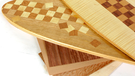 Decorative hardwood veneers can be assembled into all sorts of designs and patterns.