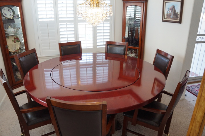 Built To Fit An Existing Bronze Sculpture Table Base This Large Lazy Susan  Table Spans 72u201d. Constructed With Purple Heart Wood Laminated Edges And Pie  ...