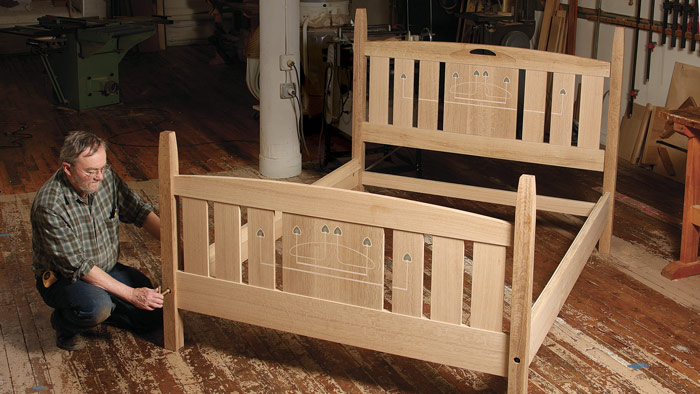Arts crafts bed finewoodworking for Arts and crafts bed plans