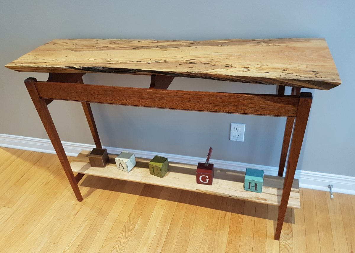 Live Edge Foyer Table : Live edge hall table and mirror finewoodworking