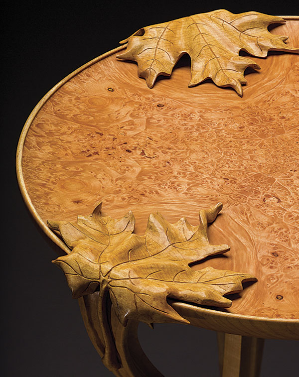 Hand carved leaf table finewoodworking
