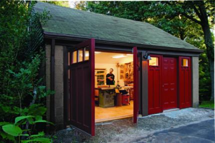 216.MikesShop__lg building the perfect workshop finewoodworking,Home Woodshop Design