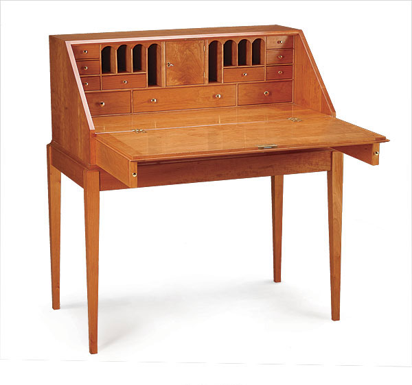 Cherry slant top writing desk finewoodworking for Free greene and greene furniture plans