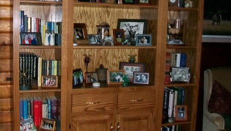 6' wide 7' hi bookcase in the living room of our 52 year old log home in Springfield IL