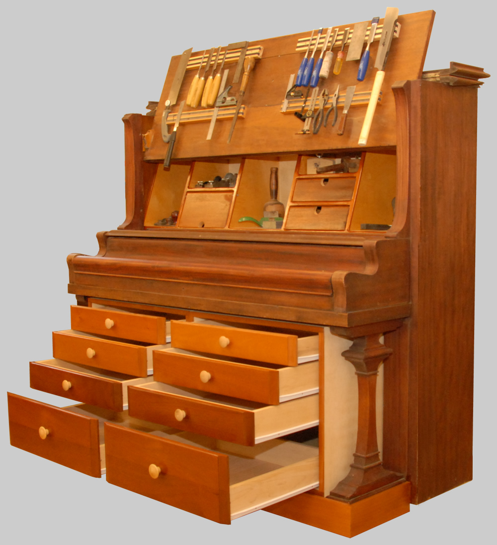 Wood Tool Chest ~ Rolling piano tool chest finewoodworking
