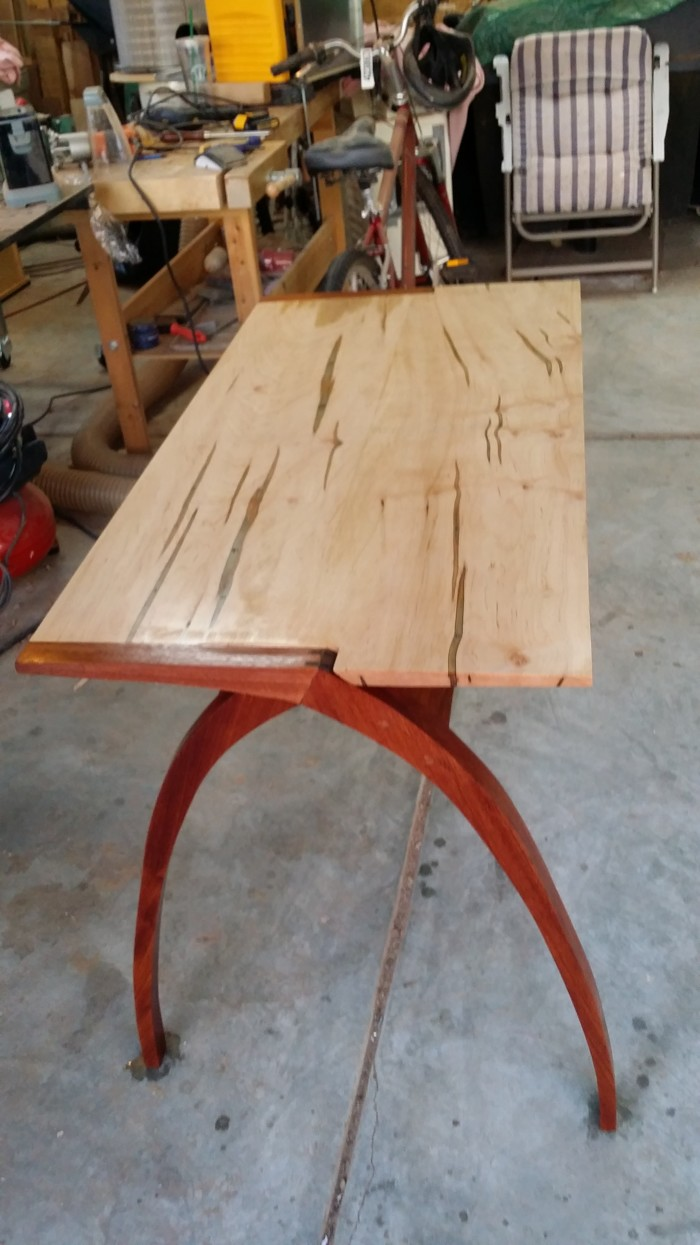 Ambrosia Maple Top And Brazilian Cherry Legs. Legs Shaped On Band Saw And  Finished By Hand. Finish Is A Paint Thinner/poly/linseed Oil Mix (Greg  Paolini).