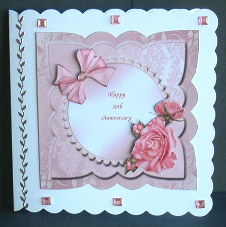 Card Gallery - Pearl (30th) Wedding Anniversary card front with decoupage