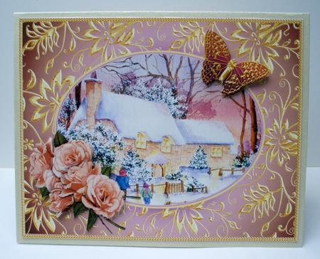 Card Gallery - Cottages in snow with Roses and butterflies decoupage