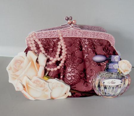 Latest Upload - Glam Bag Shaped Card - Beautiful Burgandy