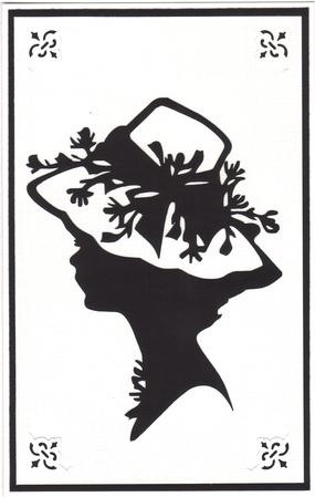Lady in Hat Silhouette Topper - 01 in Card Gallery