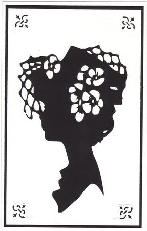 Lady in Hat Silhouette Topper - 10 in Card Gallery
