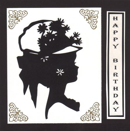 Lady in Hat Silhouette Topper - 02 in Card Gallery