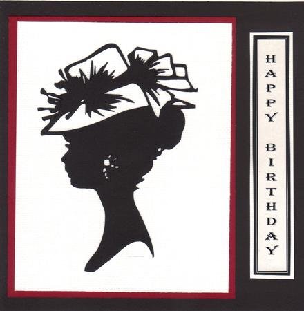Lady in Hat Silhouette Topper - 03 in Card Gallery