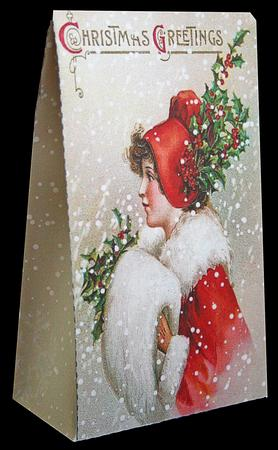Card Gallery - Christmas Gift Bag - Victorian Lady in Red