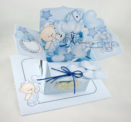 3d New Baby Boy Rubber Band Pop Up Box Card Cup527258