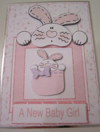 Bunny Boottee Pink New Baby Girl Card