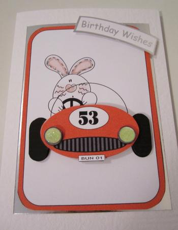 Bunny in Red Car Fathers Day/birthday