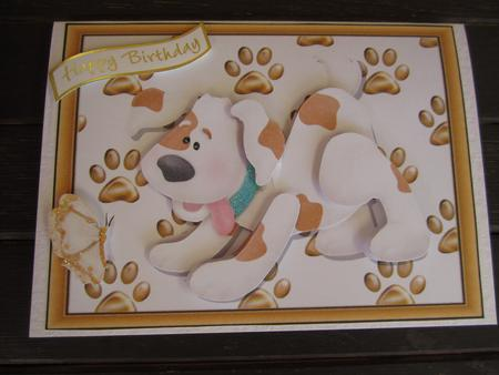 Cute White & Brown Dog in Wood Frame in Card Gallery