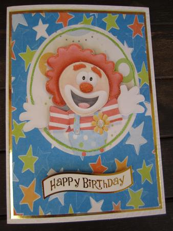 Funny Birthday Clown on Star Backing Paper in Card Gallery