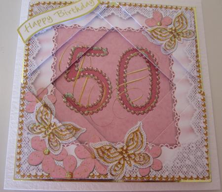 Pink Butterfly 50th Birthday 5in Triangle Spiral Stacker in Card Gallery