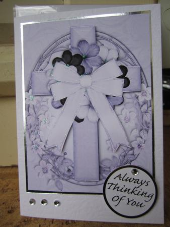 Oval Cross in Lilac Decoupage in Card Gallery