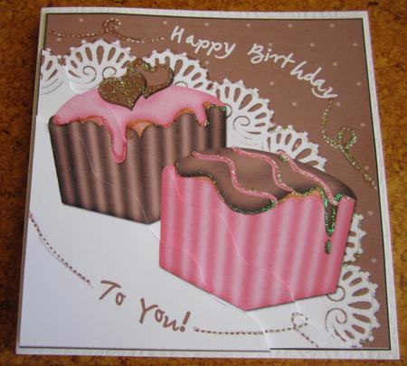 Fondant Fancies Birthday Cakes Wavy Corner Side Stacker in Card Gallery