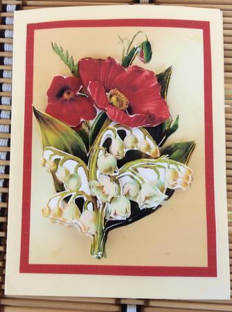 Card Gallery - Red poppy and Lilly of the valley