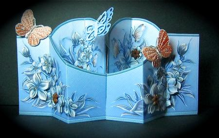 Card Gallery - Blue Flowers & Butterflies Double Diamond 3D Card Kit