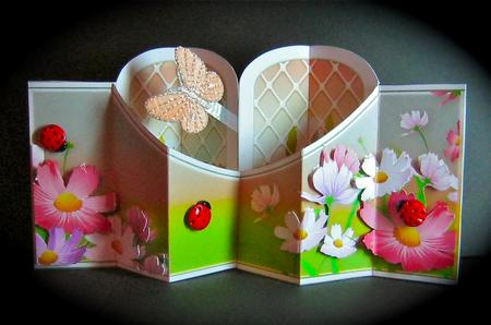 Card Gallery - Window & Flowers Double Diamond 3D Card Kit