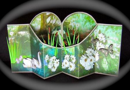 Card Gallery - Swans & Daisies Double Diamond 3D Card Kit