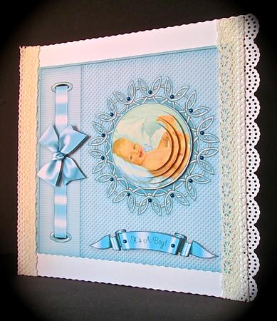 New Baby Boy Bow Frame Pyramage Card Making