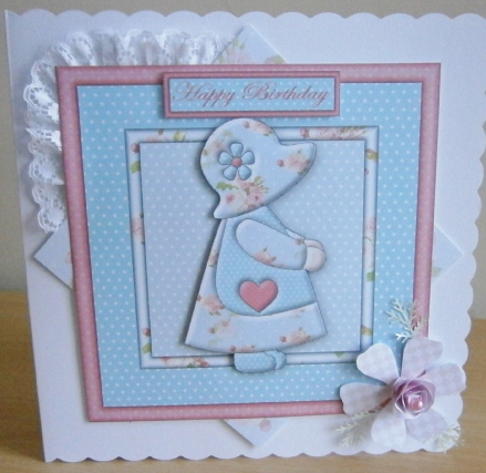 Card Gallery - Sunbonnet girl in blue and pink 8x8 card front with decoupag