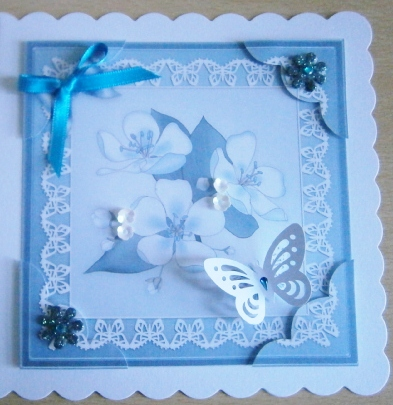 Card Gallery - 8 x 8 Apple Blossom Scalloped corner Topper