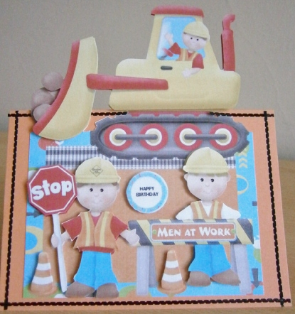 Card Gallery - Over the Edge men at work card topper