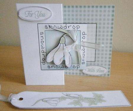 Card Gallery - Snowdrop Fold Back card with Decoupage