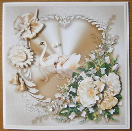 Card Gallery - Wedding and Anniversary Swans Decoupage -8in x 8in Decoupage