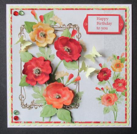 Card Gallery - Pretty poppies 7x7 card with decoupage
