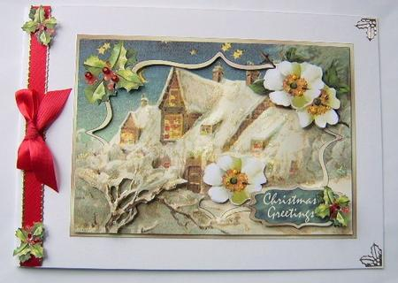 Card Gallery - Christmas Cottage - 3D Frame Card Front with Decoupage
