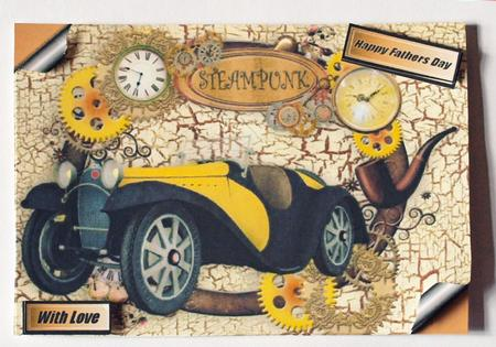 Card Gallery - FATHERS DAY VINTAGE CAR AND STEAMPUNK MEMORIES A4