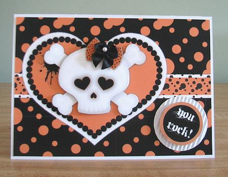 Card Gallery - Punk Love - Orange - Girly Skull and Crossbones Decoupage