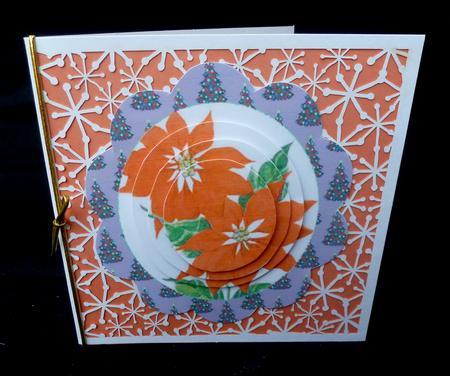 Pretty orange poinsettias in tree scalloped frame pyramids for Poinsettia christmas tree frame