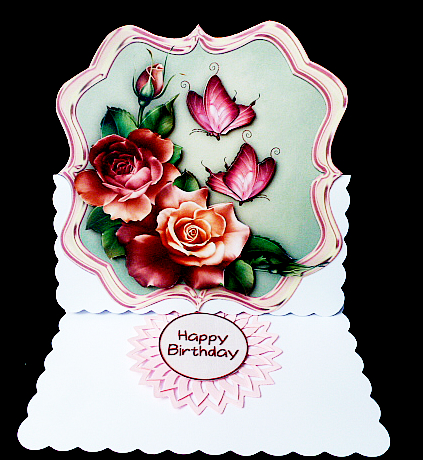 Card Gallery - Scallop topper Vintage Roses & Butterflies