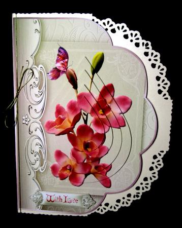 Card Gallery - pink orchids fancy edge with teardrop pyramage