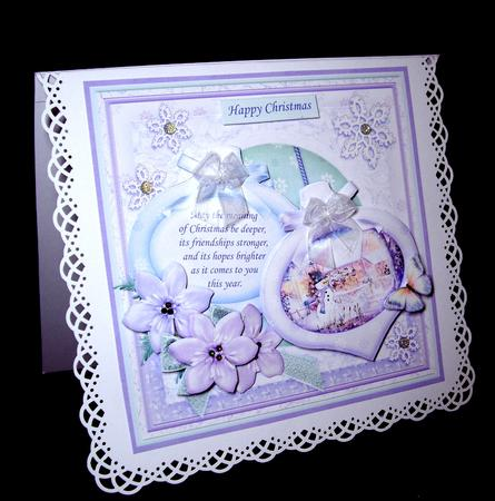 Card Gallery - CHRISTMAS BAUBLES SNOWMAN IN GARDEN 8x8 Mini Kit & Decoupage