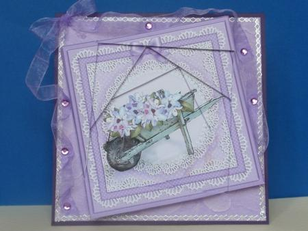 Flower Filled Wheelbarrow Quick Card with Twisted Spiral Sid in Card Gallery
