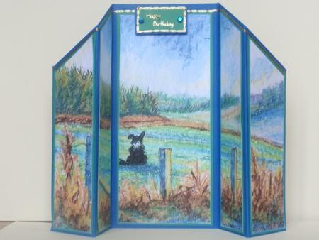 view of dreams Border Collie dog in landscape theatre fold in Card Gallery