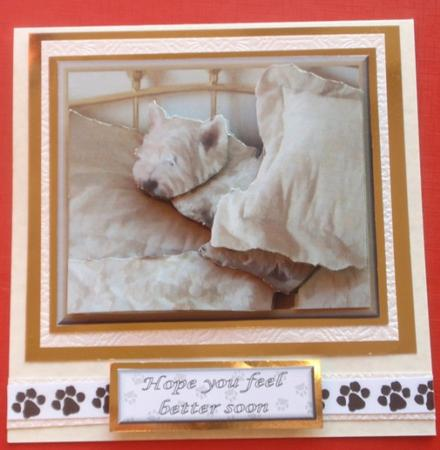 Westie Sleeping 3D decoupage in Card Gallery